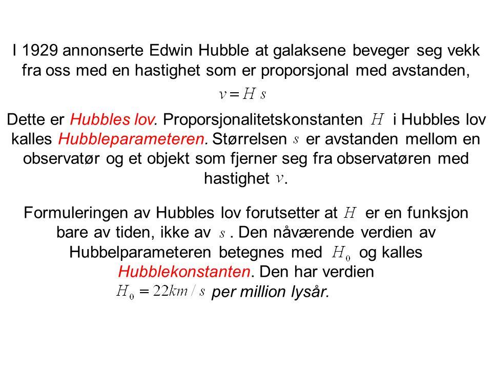 I 1929 annonserte Edwin Hubble at galaksene beveger seg vekk fra oss med en hastighet som er proporsjonal med avstanden, Dette er Hubbles lov. Propors