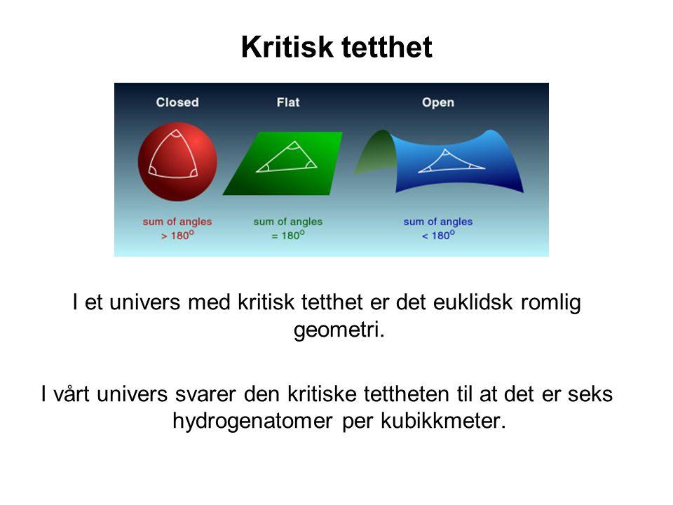 Kritisk tetthet I et univers med kritisk tetthet er det euklidsk romlig geometri. I vårt univers svarer den kritiske tettheten til at det er seks hydr