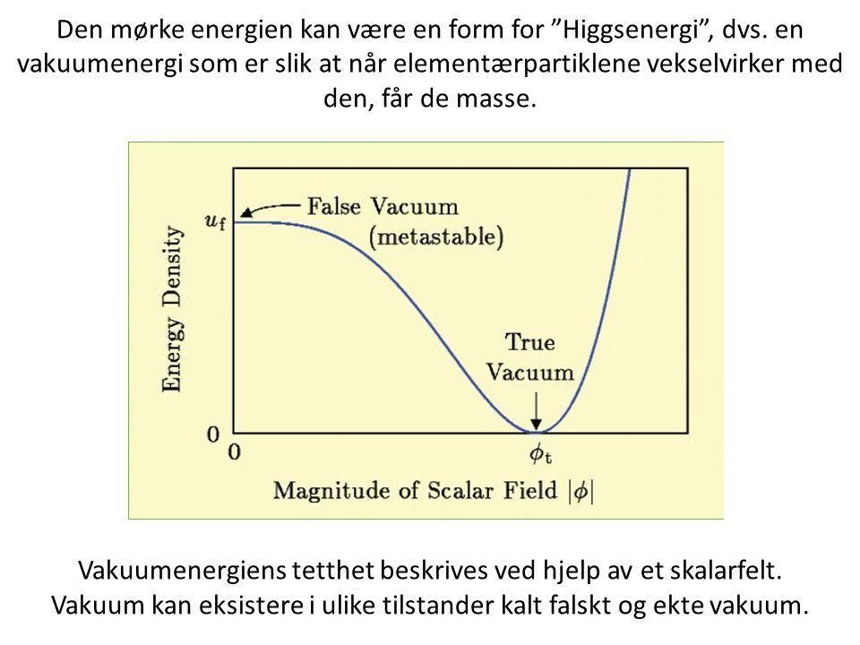 Vakuumenergiens tetthet beskrives ved hjelp av et skalarfelt. Vakuum kan eksistere i ulike tilstander kalt falskt og ekte vakuum. Den mørke energien k