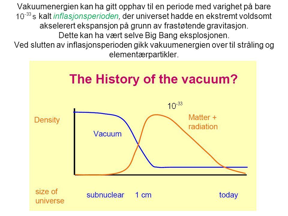 Vakuumenergien kan ha gitt opphav til en periode med varighet på bare kalt inflasjonsperioden, der universet hadde en ekstremt voldsomt akselerert eks