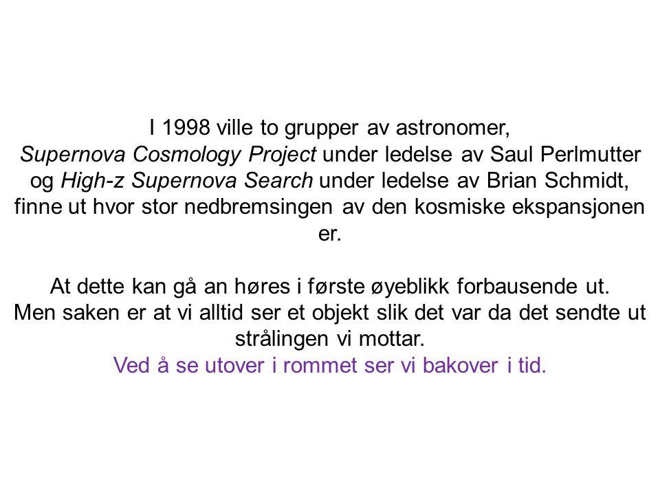 I 1998 ville to grupper av astronomer, Supernova Cosmology Project under ledelse av Saul Perlmutter og High-z Supernova Search under ledelse av Brian