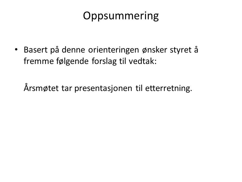 Oppsummering • Basert på denne orienteringen ønsker styret å fremme følgende forslag til vedtak: Årsmøtet tar presentasjonen til etterretning.