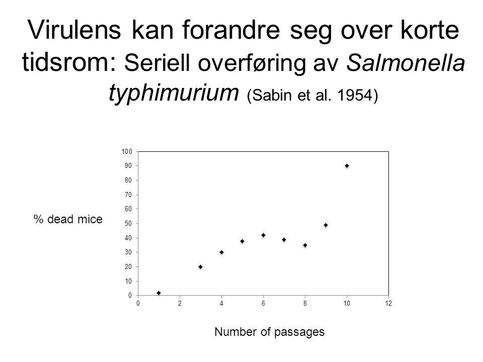 Virulens kan forandre seg over korte tidsrom: Seriell overføring av Salmonella typhimurium (Sabin et al. 1954) % dead mice Number of passages
