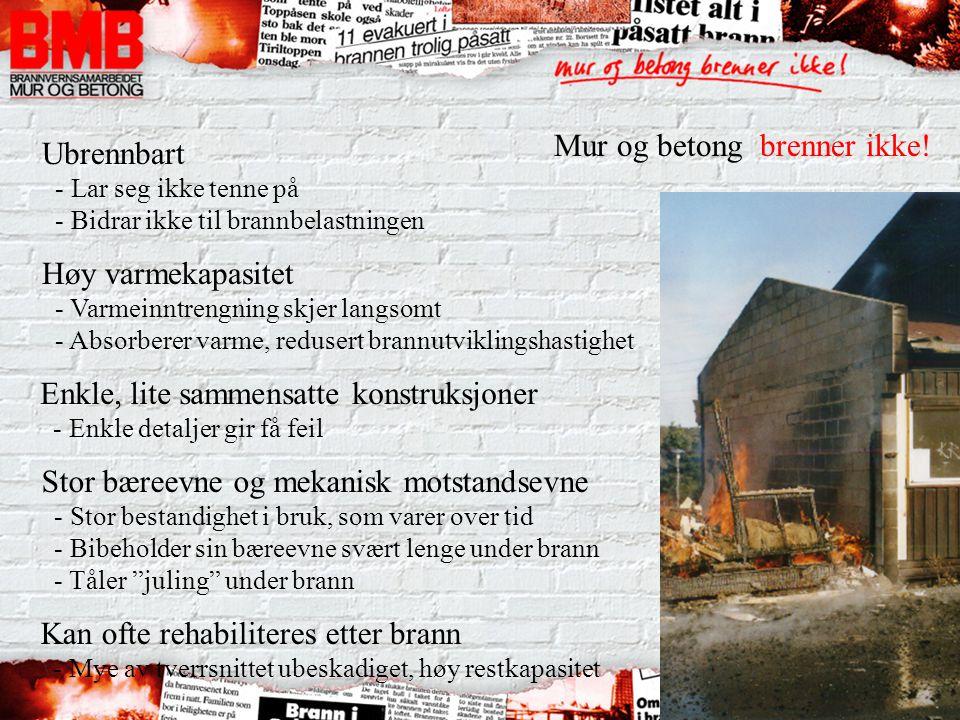 Mur og betong brenner ikke! Ubrennbart - Lar seg ikke tenne på - Bidrar ikke til brannbelastningen Høy varmekapasitet - Varmeinntrengning skjer langso