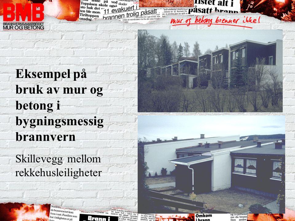 Eksempel på bruk av mur og betong i bygningsmessig brannvern Skillevegg mellom rekkehusleiligheter