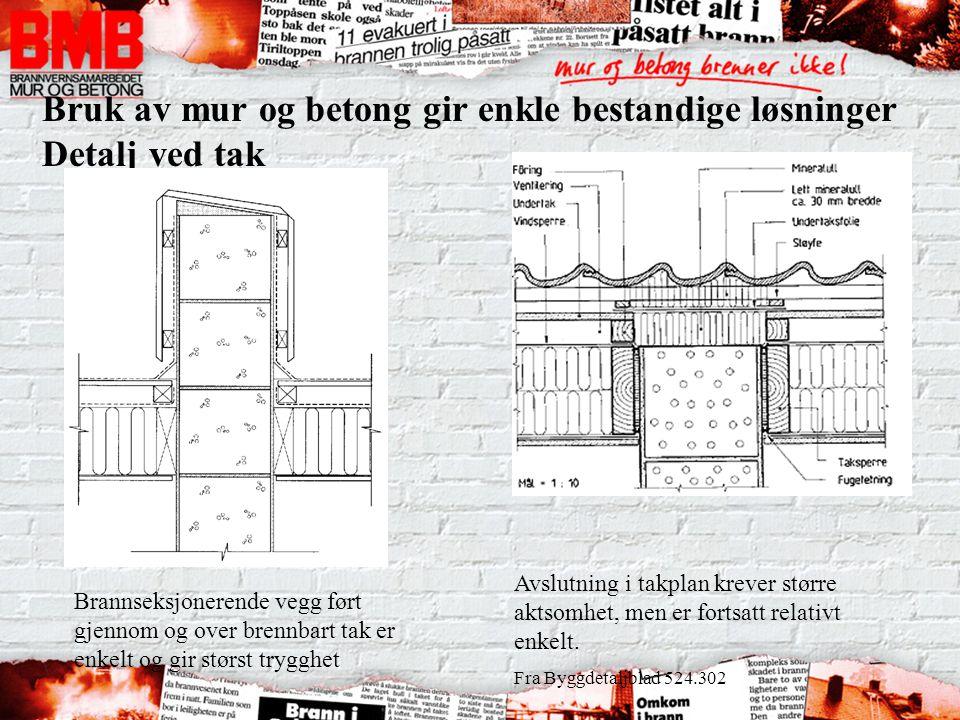 Bruk av mur og betong gir enkle bestandige løsninger Detalj ved tak Brannseksjonerende vegg ført gjennom og over brennbart tak er enkelt og gir størst