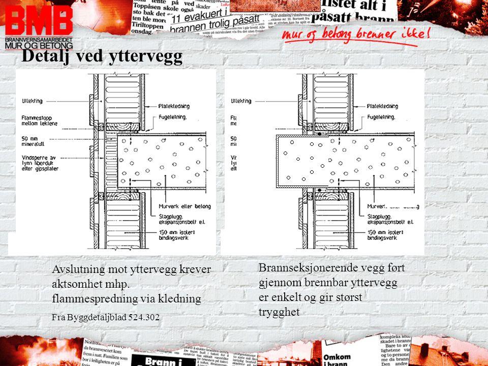 Avslutning mot yttervegg krever aktsomhet mhp. flammespredning via kledning Fra Byggdetaljblad 524.302 Detalj ved yttervegg Brannseksjonerende vegg fø