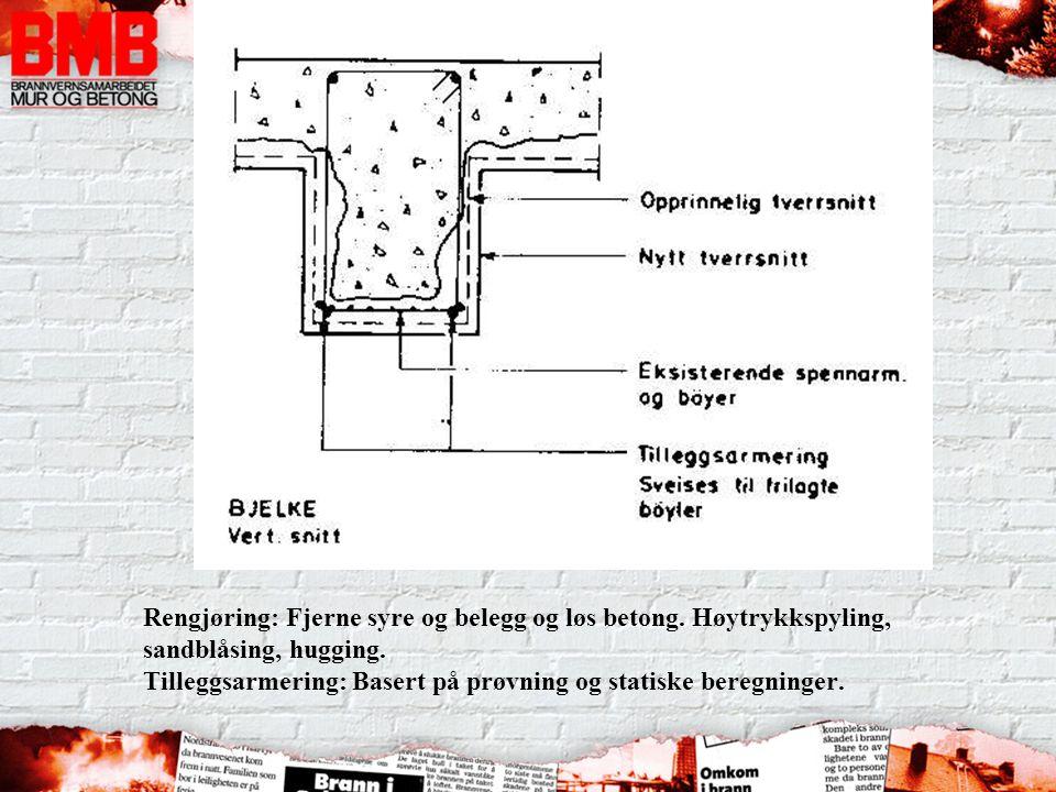 Rengjøring: Fjerne syre og belegg og løs betong. Høytrykkspyling, sandblåsing, hugging. Tilleggsarmering: Basert på prøvning og statiske beregninger.