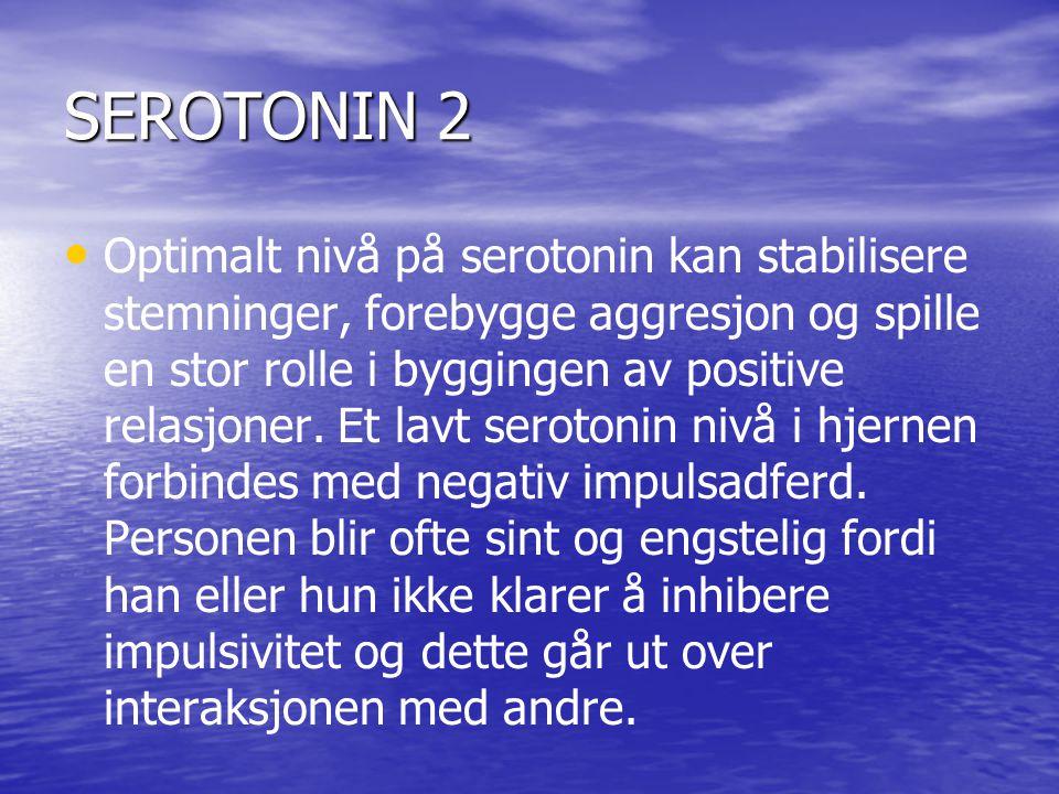 SEROTONIN 2 • • Optimalt nivå på serotonin kan stabilisere stemninger, forebygge aggresjon og spille en stor rolle i byggingen av positive relasjoner.