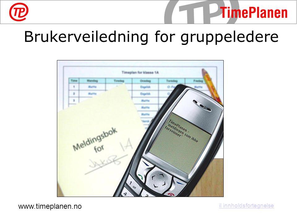 www.timeplanen.no il innholdsfortegnelse Brukerveiledning for gruppeledere