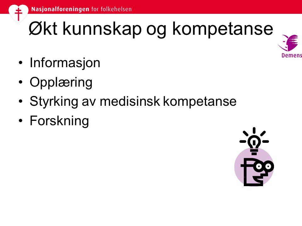 Økt kunnskap og kompetanse •Informasjon •Opplæring •Styrking av medisinsk kompetanse •Forskning