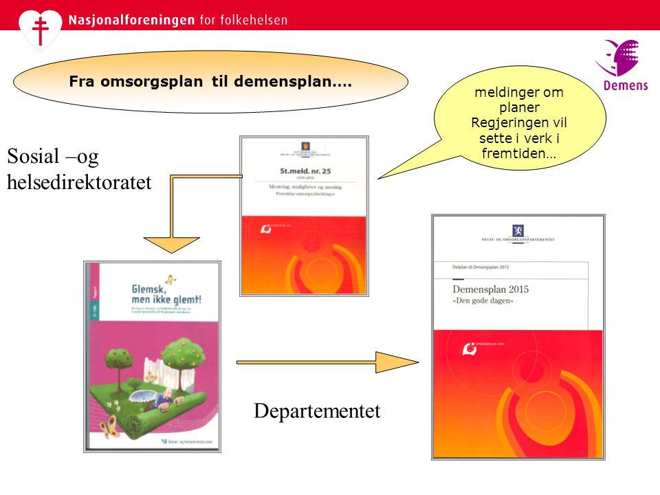 Fra omsorgsplan til demensplan…. meldinger om planer Regjeringen vil sette i verk i fremtiden… Sosial –og helsedirektoratet Departementet