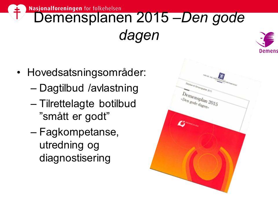 """Demensplanen 2015 –Den gode dagen •Hovedsatsningsområder: –Dagtilbud /avlastning –Tilrettelagte botilbud """"smått er godt"""" –Fagkompetanse, utredning og"""