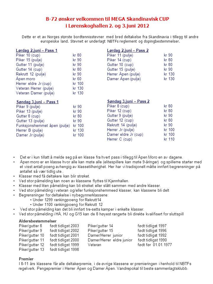 B-72 ønsker velkommen til MEGA Skandinavisk CUP i Lørenskoghallen 2. og 3.juni 2012 Dette er et av Norges største bordtennisstevner med bred deltakels