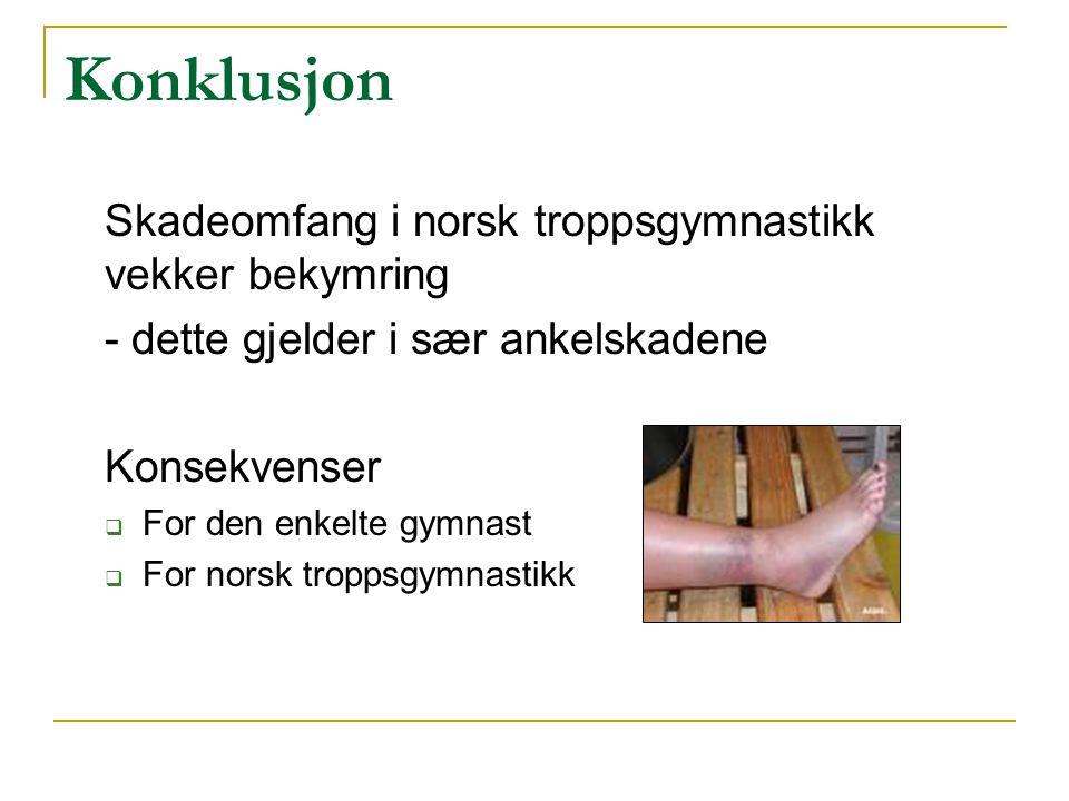Konklusjon Skadeomfang i norsk troppsgymnastikk vekker bekymring - dette gjelder i sær ankelskadene Konsekvenser  For den enkelte gymnast  For norsk