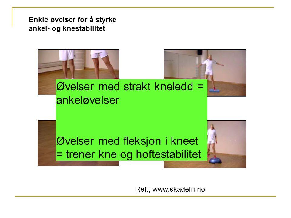 Enkle øvelser for å styrke ankel- og knestabilitet Øvelser med strakt kneledd = ankeløvelser Øvelser med fleksjon i kneet = trener kne og hoftestabili