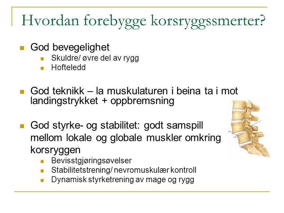Hvordan forebygge korsryggssmerter?  God bevegelighet  Skuldre/ øvre del av rygg  Hofteledd  God teknikk – la muskulaturen i beina ta i mot landin