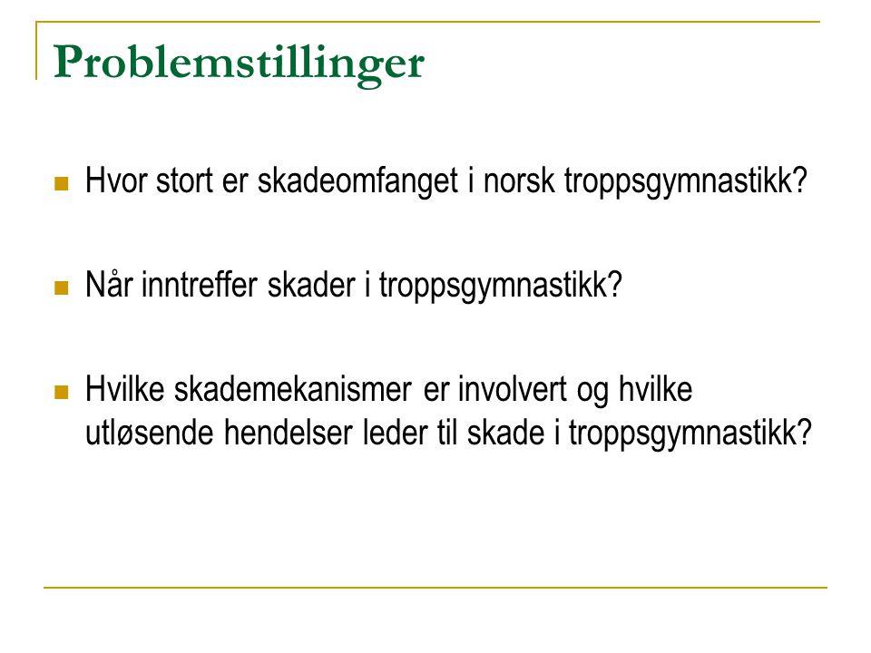 Problemstillinger  Hvor stort er skadeomfanget i norsk troppsgymnastikk?  Når inntreffer skader i troppsgymnastikk?  Hvilke skademekanismer er invo