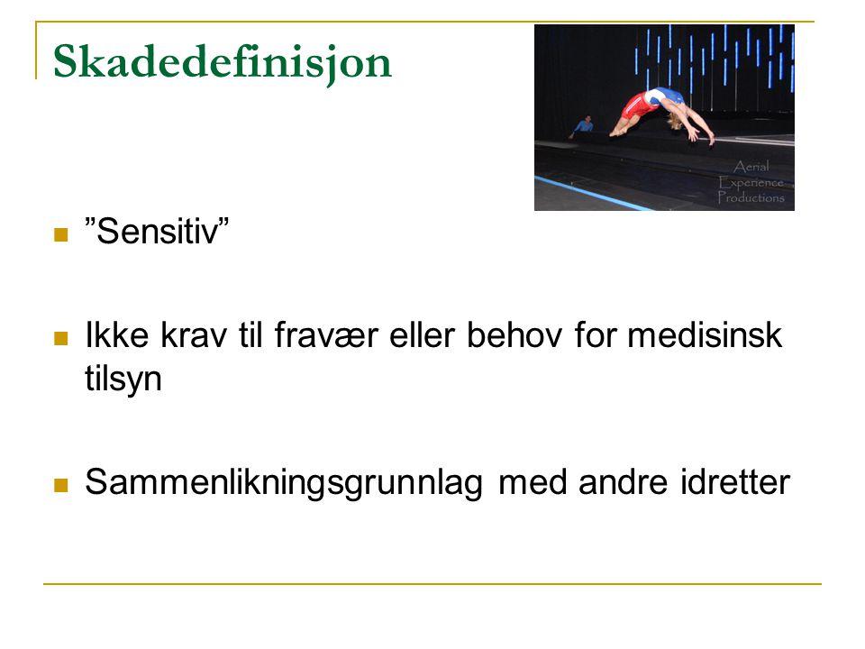 """Skadedefinisjon  """"Sensitiv""""  Ikke krav til fravær eller behov for medisinsk tilsyn  Sammenlikningsgrunnlag med andre idretter"""