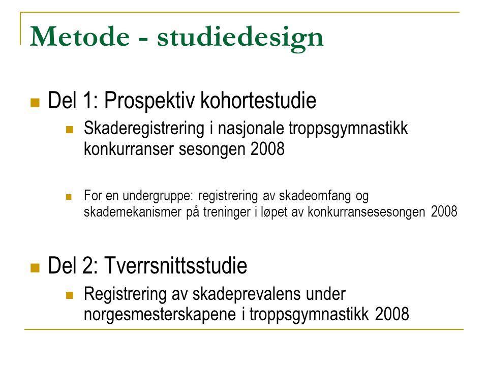 Metode - studiedesign  Del 1: Prospektiv kohortestudie  Skaderegistrering i nasjonale troppsgymnastikk konkurranser sesongen 2008  For en undergrup