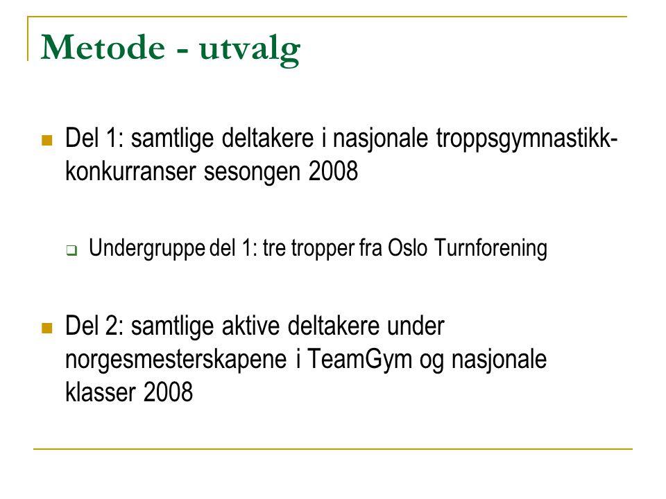 Metode - utvalg  Del 1: samtlige deltakere i nasjonale troppsgymnastikk- konkurranser sesongen 2008  Undergruppe del 1: tre tropper fra Oslo Turnfor