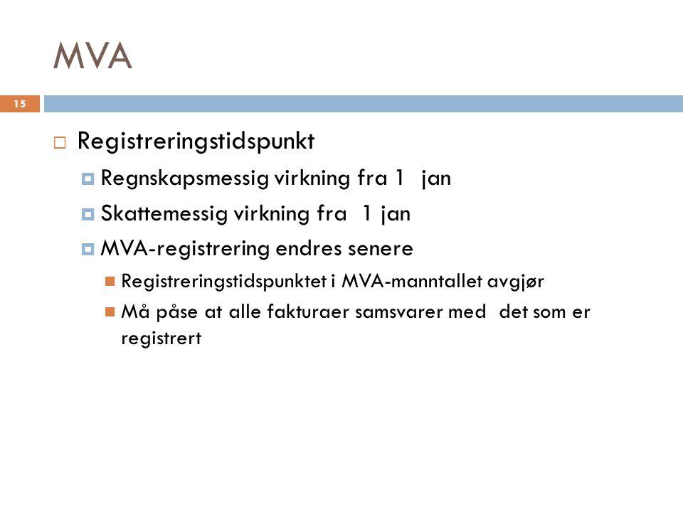 MVA  Registreringstidspunkt  Regnskapsmessig virkning fra 1 jan  Skattemessig virkning fra 1 jan  MVA-registrering endres senere  Registreringsti