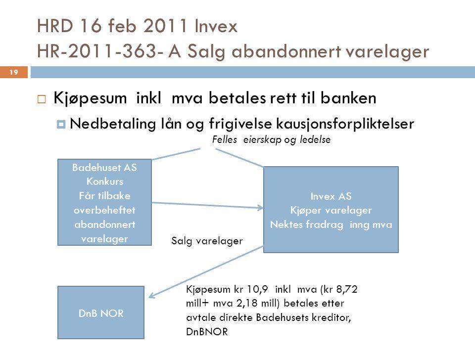 HRD 16 feb 2011 Invex HR-2011-363- A Salg abandonnert varelager  Kjøpesum inkl mva betales rett til banken  Nedbetaling lån og frigivelse kausjonsfo