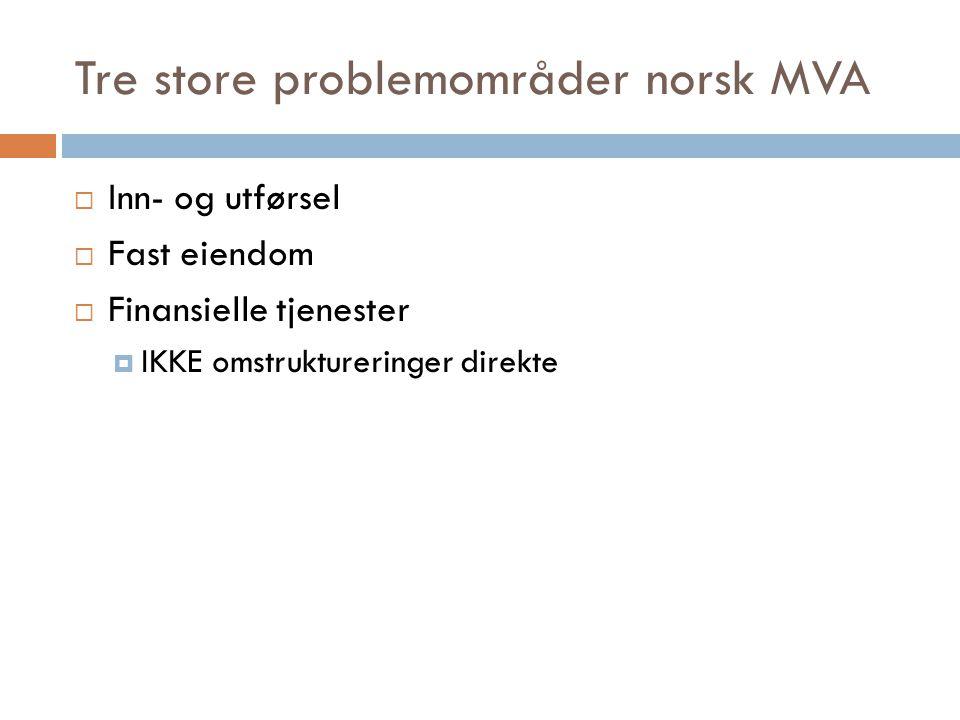 Tre store problemområder norsk MVA  Inn- og utførsel  Fast eiendom  Finansielle tjenester  IKKE omstruktureringer direkte