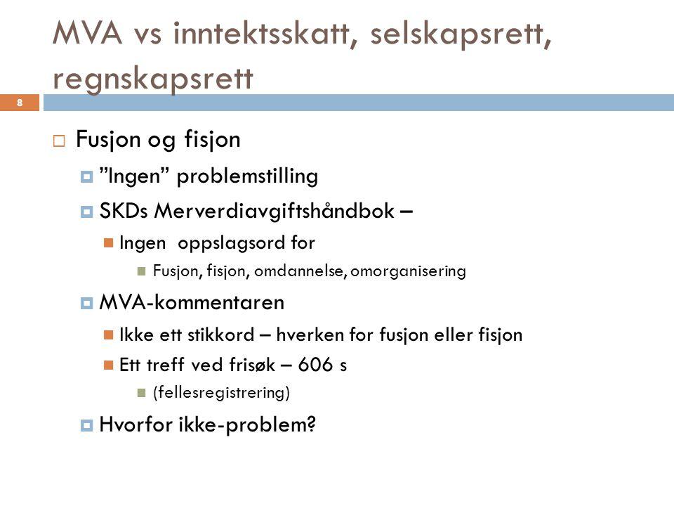 """MVA vs inntektsskatt, selskapsrett, regnskapsrett  Fusjon og fisjon  """"Ingen"""" problemstilling  SKDs Merverdiavgiftshåndbok –  Ingen oppslagsord for"""