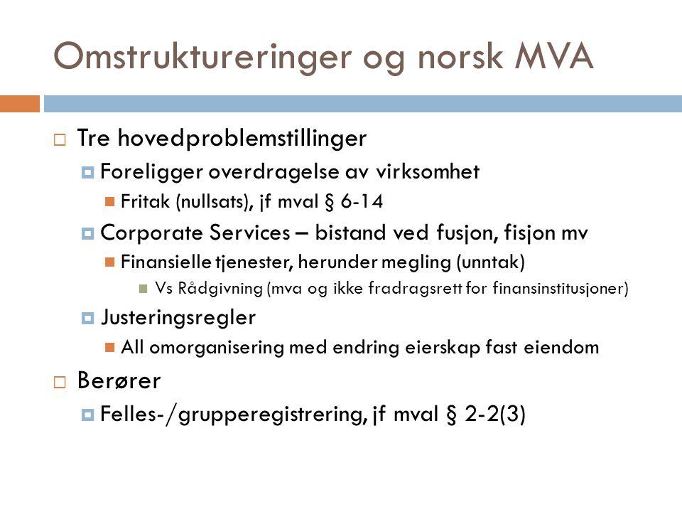 Omstruktureringer og norsk MVA  Tre hovedproblemstillinger  Foreligger overdragelse av virksomhet  Fritak (nullsats), jf mval § 6-14  Corporate Se