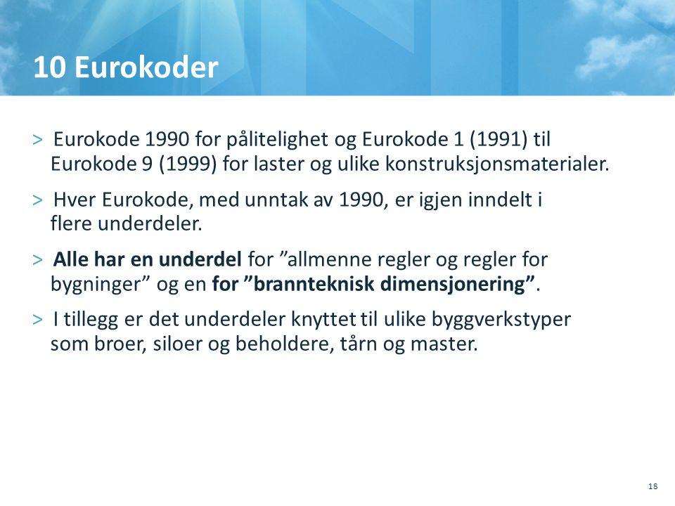 10 Eurokoder >Eurokode 1990 for pålitelighet og Eurokode 1 (1991) til Eurokode 9 (1999) for laster og ulike konstruksjonsmaterialer. >Hver Eurokode, m