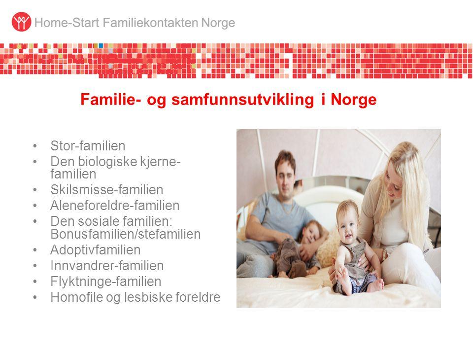 Familie- og samfunnsutvikling i Norge •Stor-familien •Den biologiske kjerne- familien •Skilsmisse-familien •Aleneforeldre-familien •Den sosiale familien: Bonusfamilien/stefamilien •Adoptivfamilien •Innvandrer-familien •Flyktninge-familien •Homofile og lesbiske foreldre