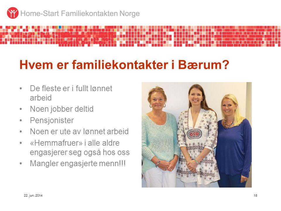 Hvem er familiekontakter i Bærum? •De fleste er i fullt lønnet arbeid •Noen jobber deltid •Pensjonister •Noen er ute av lønnet arbeid •«Hemmafruer» i