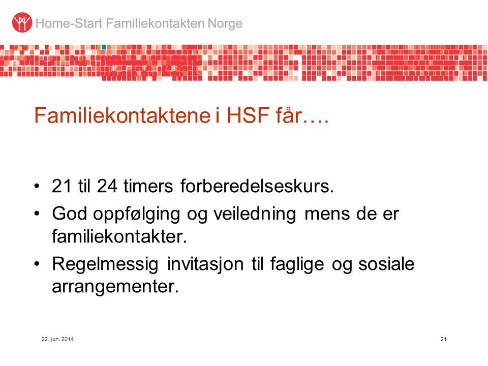 22. jun. 201421 Familiekontaktene i HSF får…. •21 til 24 timers forberedelseskurs. •God oppfølging og veiledning mens de er familiekontakter. •Regelme