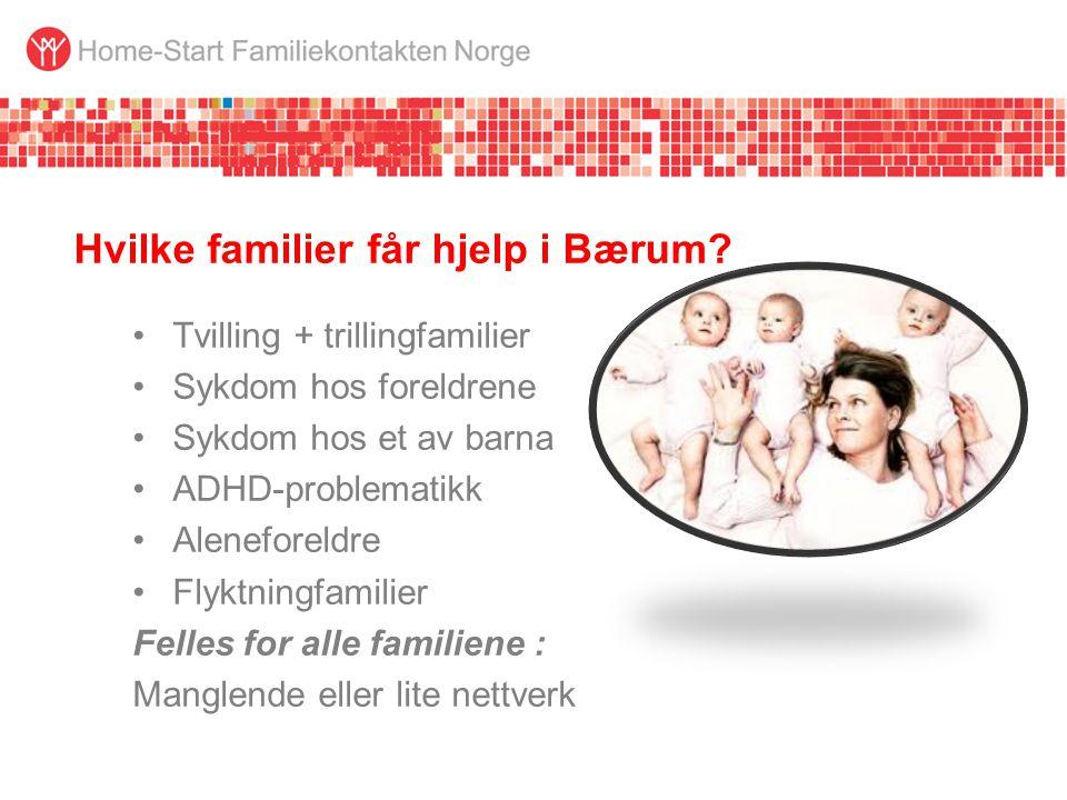 Hvilke familier får hjelp i Bærum? •Tvilling + trillingfamilier •Sykdom hos foreldrene •Sykdom hos et av barna •ADHD-problematikk •Aleneforeldre •Flyk