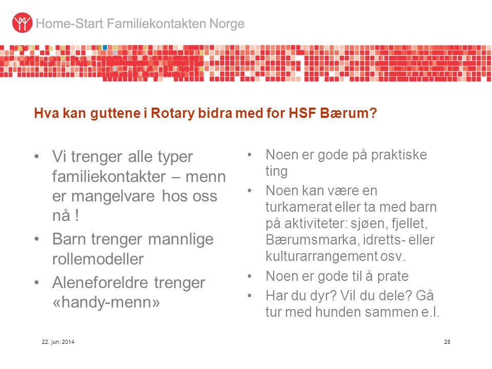 Hva kan guttene i Rotary bidra med for HSF Bærum? •Vi trenger alle typer familiekontakter – menn er mangelvare hos oss nå ! •Barn trenger mannlige rol