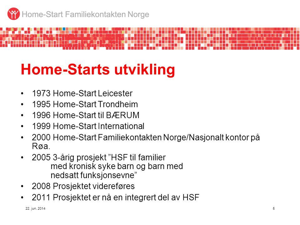 22. jun. 20145 Home-Starts utvikling •1973 Home-Start Leicester •1995 Home-Start Trondheim •1996 Home-Start til BÆRUM •1999 Home-Start International •