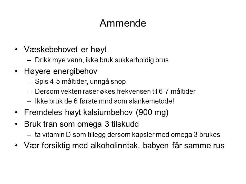 Ammende •Væskebehovet er høyt –Drikk mye vann, ikke bruk sukkerholdig brus •Høyere energibehov –Spis 4-5 måltider, unngå snop –Dersom vekten raser øke