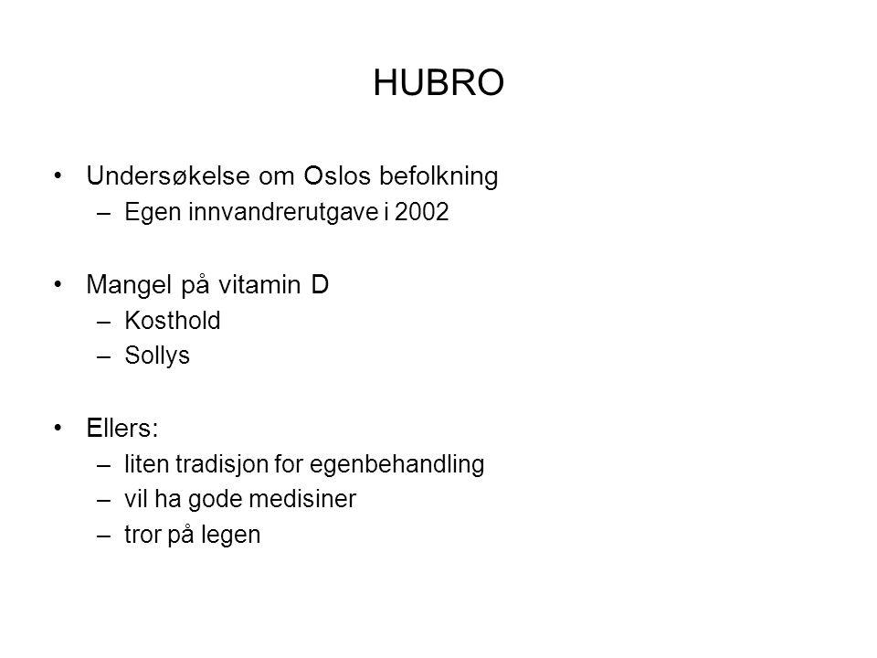 HUBRO •Undersøkelse om Oslos befolkning –Egen innvandrerutgave i 2002 •Mangel på vitamin D –Kosthold –Sollys •Ellers: –liten tradisjon for egenbehandl