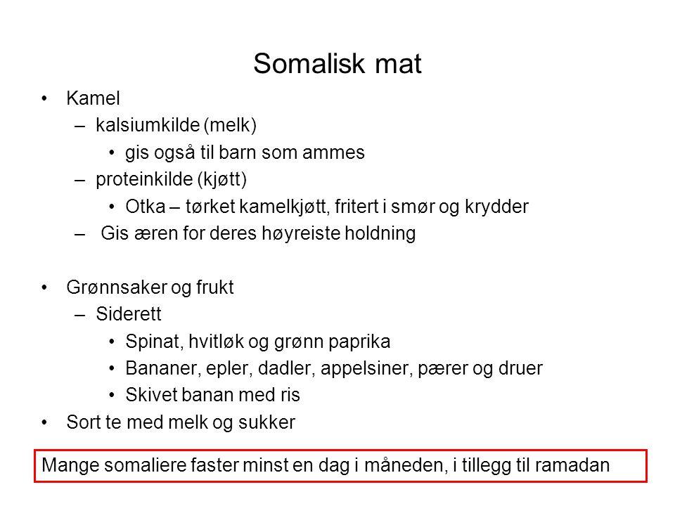 Somalisk mat •Kamel –kalsiumkilde (melk) •gis også til barn som ammes –proteinkilde (kjøtt) •Otka – tørket kamelkjøtt, fritert i smør og krydder – Gis