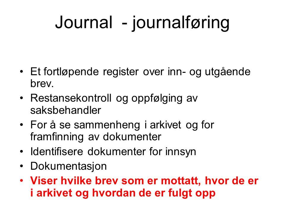 Journal - journalføring •Et fortløpende register over inn- og utgående brev.