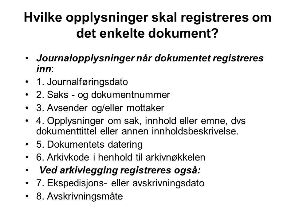 Hvilke opplysninger skal registreres om det enkelte dokument.