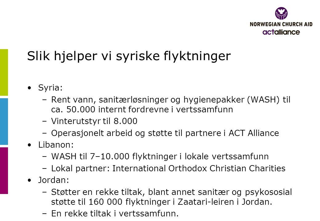 Slik hjelper vi syriske flyktninger •Syria: –Rent vann, sanitærløsninger og hygienepakker (WASH) til ca.