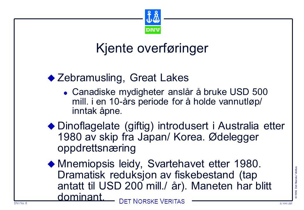 DNV No.7 © 1998 Det Norske Veritas q:\xxx.ppt D ET N ORSKE V ERITAS Regelverk  IMO Ass.res.