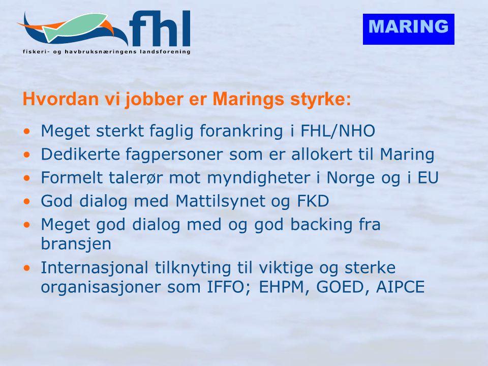 MARING Hvordan vi jobber er Marings styrke: •Meget sterkt faglig forankring i FHL/NHO •Dedikerte fagpersoner som er allokert til Maring •Formelt taler