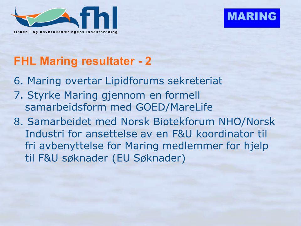 MARING FHL Maring resultater - 2 6. Maring overtar Lipidforums sekreteriat 7. Styrke Maring gjennom en formell samarbeidsform med GOED/MareLife 8. Sam