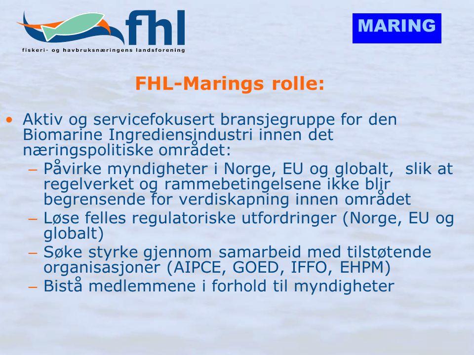 MARING FHL-Marings rolle: •Aktiv og servicefokusert bransjegruppe for den Biomarine Ingrediensindustri innen det næringspolitiske området: – Påvirke m