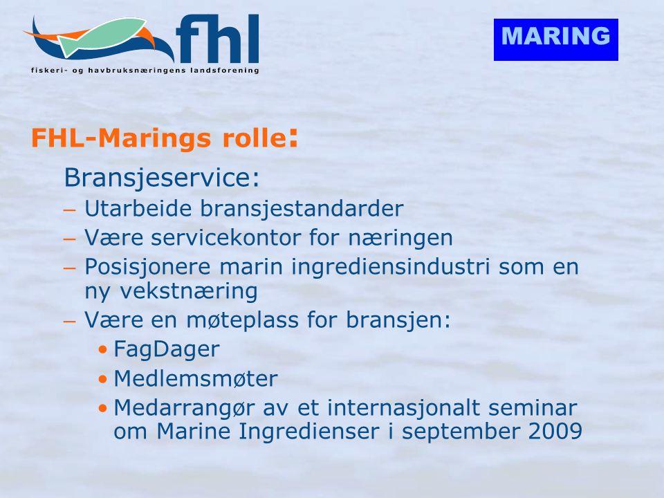 MARING FHL-Marings rolle : Bransjeservice: – Utarbeide bransjestandarder – Være servicekontor for næringen – Posisjonere marin ingrediensindustri som