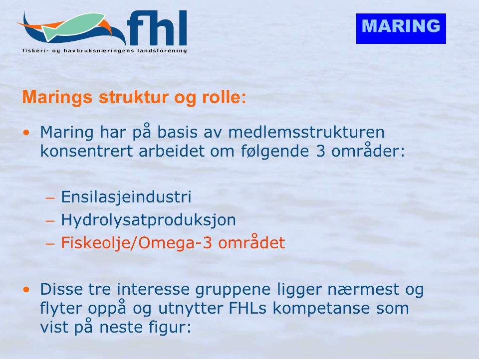 MARING Marings struktur og rolle: •Maring har på basis av medlemsstrukturen konsentrert arbeidet om følgende 3 områder: – Ensilasjeindustri – Hydrolys