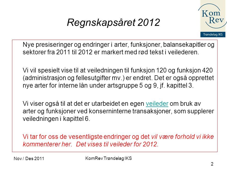 KomRev Trøndelag IKS Nov / Des 2011 2 Regnskapsåret 2012 Nye presiseringer og endringer i arter, funksjoner, balansekapitler og sektorer fra 2011 til 2012 er markert med rød tekst i veilederen.
